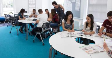 Students studying in a Bell Cambridge classroom