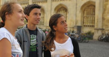 Students outside Kings College, Cambridge