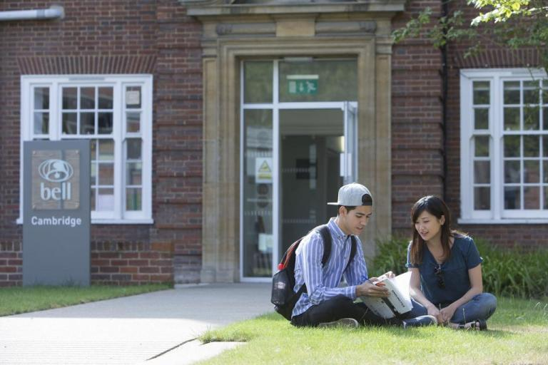 Students studying outside in the sunshine