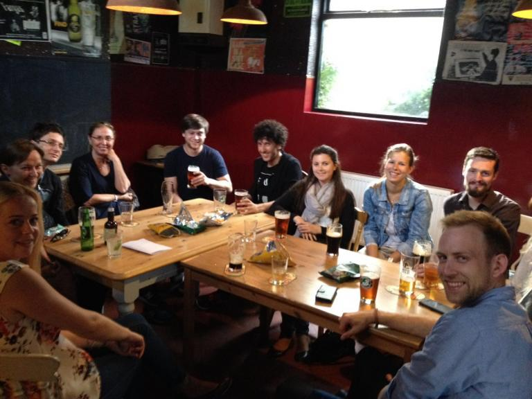 Our students socialising with friends and experiencing some British culture at a local pub