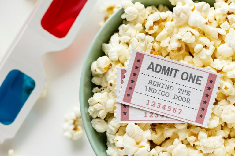 Popcorn and cinema tickets