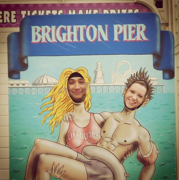 Having fun on Brighton Pier