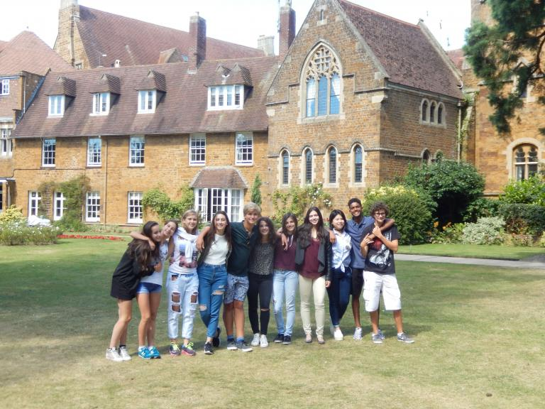 Students on the Headmasters Lawn at Bloxham School