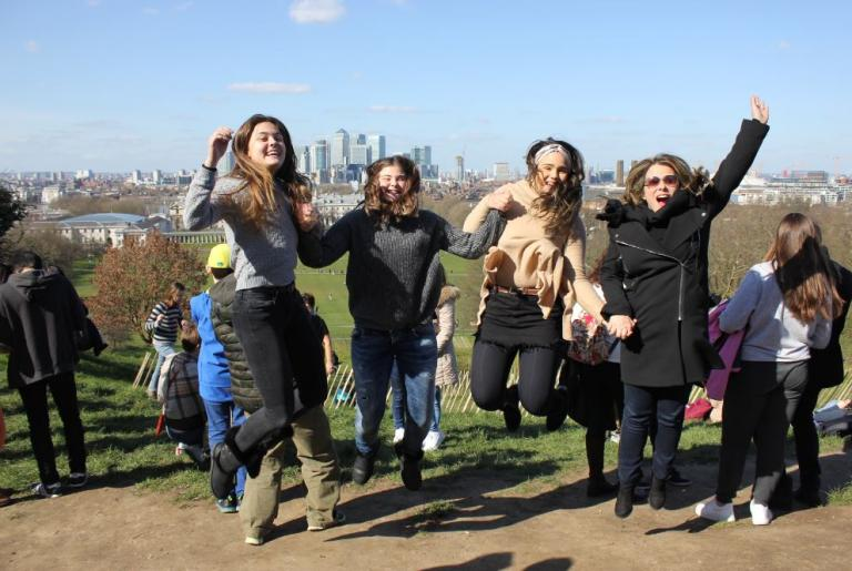 Jumping for joy in Greenwich