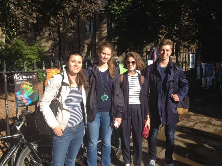 Students on an orientation tour of Cambridge