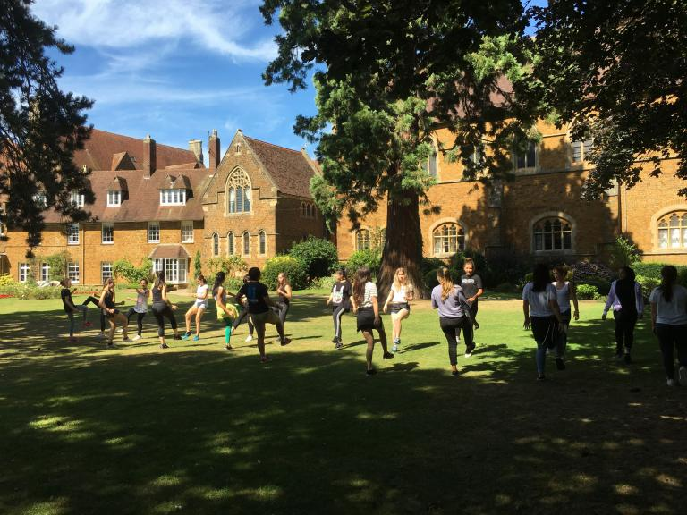 Students dancing on the Headmasters Lawn, Bloxham