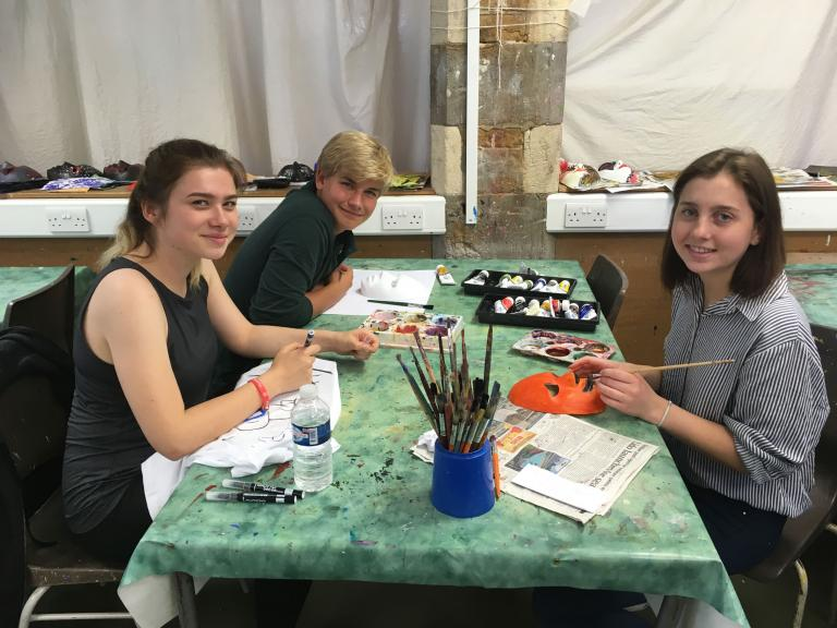 Students in their art elective at Bloxham School