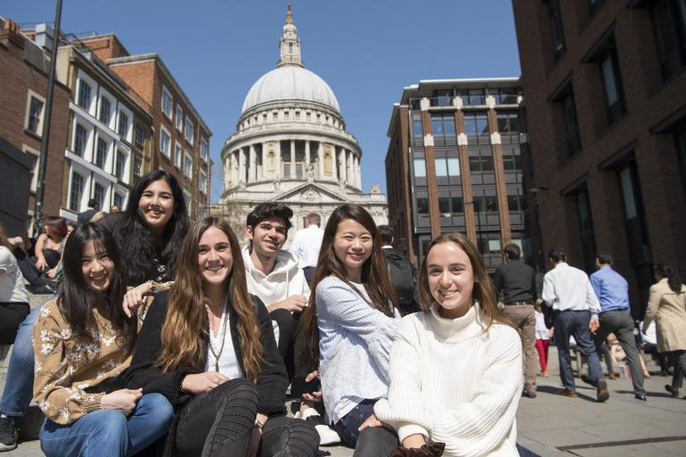 Students outside St Paul's Cathedral