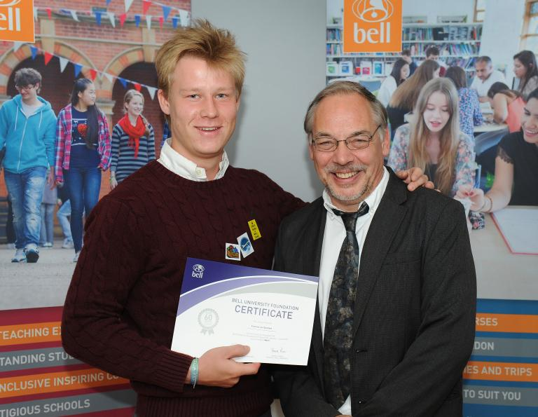 Francois recieving his certificate