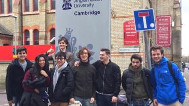 Students outside Anglia Ruskin University