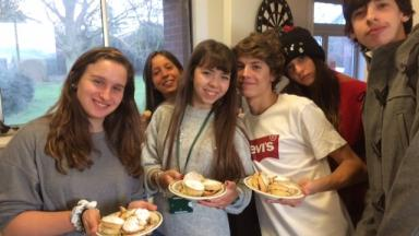 Students with cake