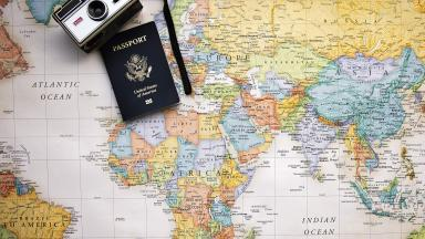 Passport and world map