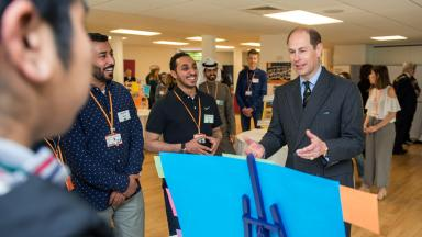 HRH, The Prince Edward, Earl of Wessex visits Bell Cambridge. Photo gallery.