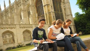 Students outside King's College, Cambridge.