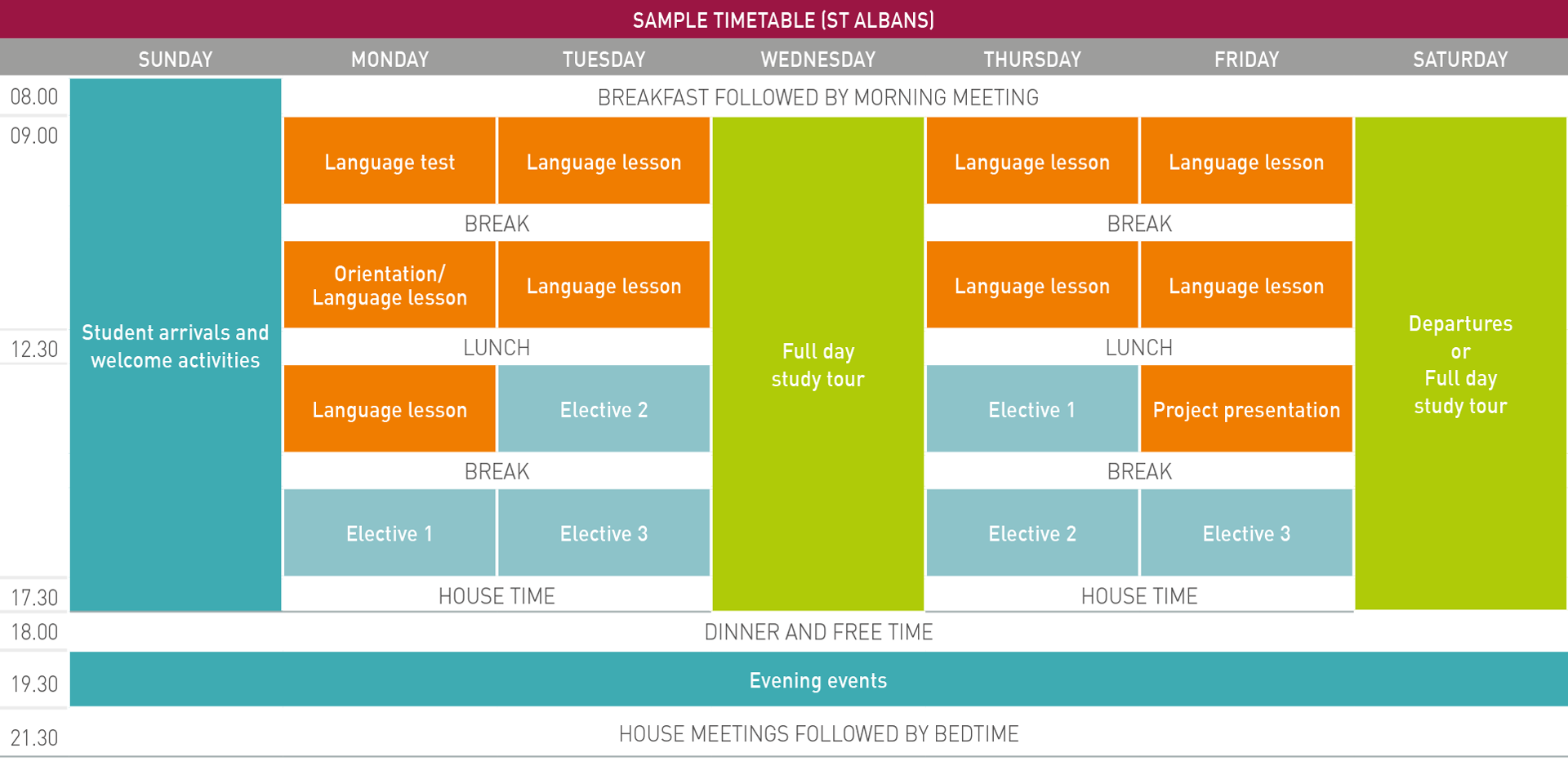 English Explorer Spring sample timetable