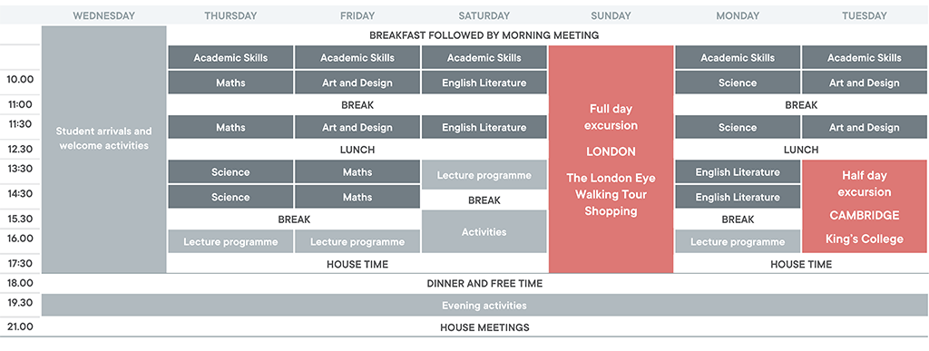 Young Cambridge Scholars sample timetable