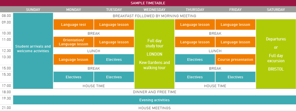 Spring Explorer sample timetable