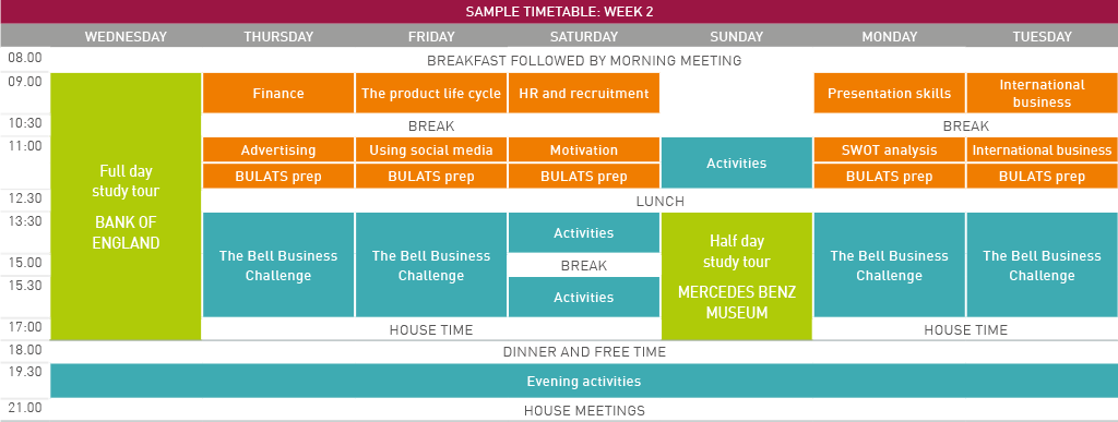 Young Business Leaders sample timetable